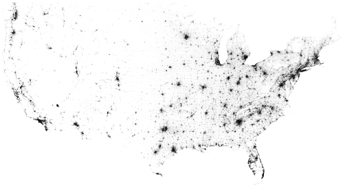 Census Dotmap of North America